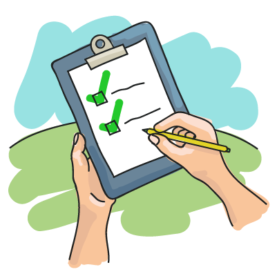 Illustration of a pair of hands ticking items on a clipboard