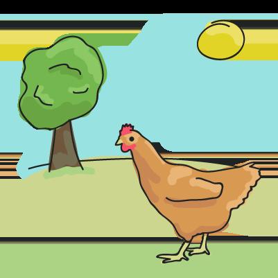 Illustration of a hen in a field