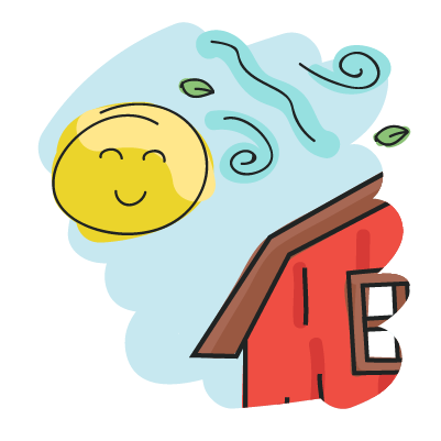 Illustration of a happy smiling sun and wind blowing some leaves