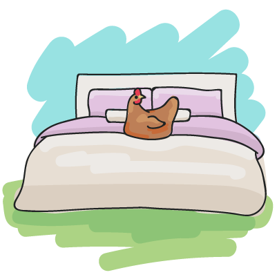 Illustration of a hen on a large bed