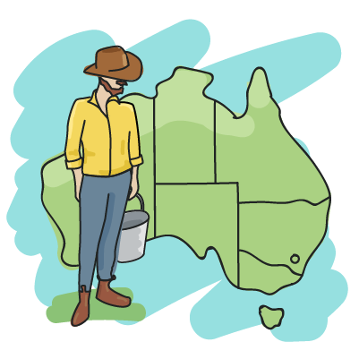 Illustration of farmer over a map of Australia